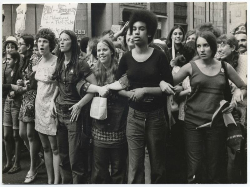 feminism - activism - activists join forces at an August 1970 women's rights march.