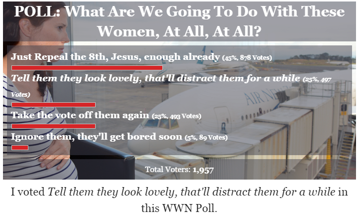 #saturdaysatire: poll: what are we going to do with these women, at all, at all?
